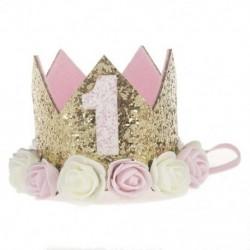 Virágkorona újszülött fejpánt arany születésnapi korona 1 éves szám Priness Sty R1M7