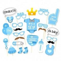 6X (25 db Photo Booth Props) Baby Shower újszülött party fotókészlet (kék) B2T9