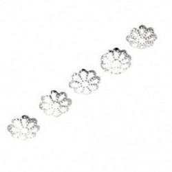 100 db 6 mm-es finoman ezüstözött százszorszép távtartó gyöngyök a DIY E0Q8 gyöngyhuzathoz