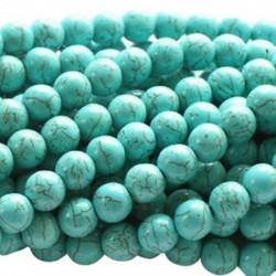 Türkiz Howlite 4 mm-es kerek gyöngyök DIY ékszerek készítéséhez, 16 hüvelykes szál B8K3