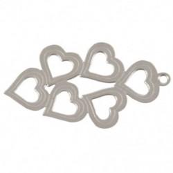 10 db rozsdamentes acél üreges szívvel ellátott medálok DIY N5X4 ékszer készítéséhez