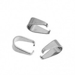 100 db rozsdamentes acél medál csipeszes záróelem szorítással ezüst hanghoz 9.7mmx9.0mm M1R1