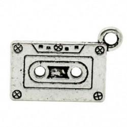 1X (20 db ősi ezüst tónusú kazettás magnó medálok 23 x 13 mm B7I1)
