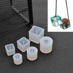 6 db kerek négyzet alakú szilikon formaöntő gyanta ékszer medálhoz, Ban X8Q6