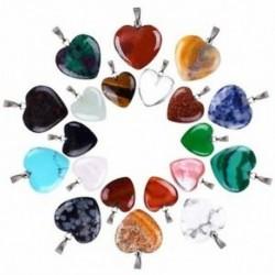 1X (20 darab szív alakú kő medálok csakra gyöngyök DIY kristálybűvös F8L5