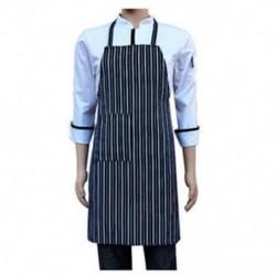 Vízálló Bib kötény Nylon kék és fehér csíkos étterem V7O4
