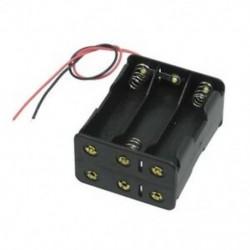 Fekete vontató rétegek 6 x 1,5 V-os AA elem elemtartó tokban, dobozos vezetékkel, Z2S2 vezetékkel