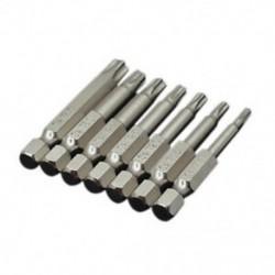 7 db-os készlet csillagcsavarhúzó fúrócsavarokkal, csavarhúzó, mágneses 1/4 hüvelykes Hex H7M5