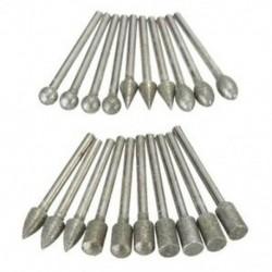 20 db 3 mm-es szárú gyémánt csiszoló fúrócsavarkészlet készlet C6R3 forgószerszámhoz