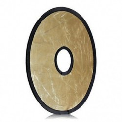 12 hüvelykes / 30 cm-es 2 az 1-ben arany és ezüst hordozható, kör alakú, összecsukható lencse-szerelőfény D1F5