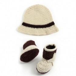 1X (Aranyos horgolt újszülött fotózás kellékek Kézzel készített Western Cowboy baba kalap J5J3
