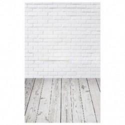 Fehér téglafal és deszka padló háttér stúdió fotózáshoz - Z4Y8