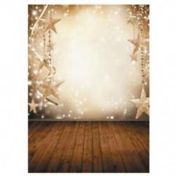 210x150cm-es Karácsonyi csillagdíszes fal és deszka padló háttér stúdió fotózáshoz - N4I1