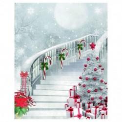 210x150cm-es Karácsonyi lépcsős - Karácsonyfás háttér stúdió fotózáshoz -F2R6