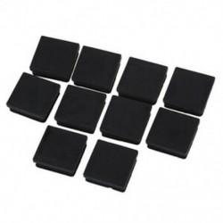 40 mm x 40 mm műanyag, négyzet alakú csőbetétek fekete végdarabokhoz, 10 darab H3Z9