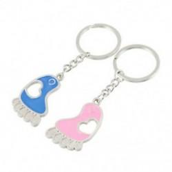 Párok kék rózsaszín láb alakú medál ezüst hangú kulcstartók 2 db N5X6