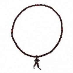 Buddhista ima 5 mm-es barna szandálfa gyöngy nyaklánc Y7O8