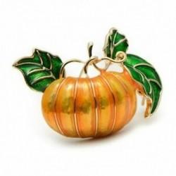 Halloween tök bross új ötvözet zöld levelek narancssárga zománc tök nők A3C2