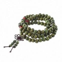 1X (olívazöld szandálfa gyöngyök Buddha buddhista Mala Stretch nyaklánc Rosa D8B8