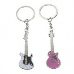 1 pár édes mini ezüst rózsaszín ötvözet gitár kulcstartó kulcstartó kulcstartó medál I5V3