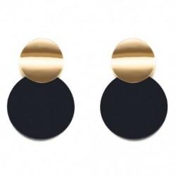 1X (fekete fülbevalók, divatos arany színű, kerek fém fülbevalók az S2F3-hoz)