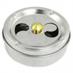 Forgógombos dohányzó hamutartó rozsdamentes acélból készült cigarettatartó ezüst tónusú Z6H1