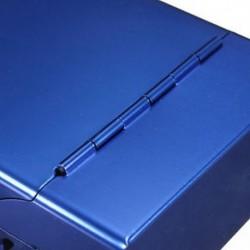 Kék - Mágneses, king size méretű fém-alumínium zseb cigaretta dohány doboz tokja BEB