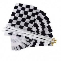 12 db Gyöngyözött Formula 1 F1 Racing Banner kézzel hullámzó zászlók (fekete   fehér) P1H4
