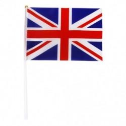 1X (Kézi hullámzású Union Jack zászlók műanyag pólusai 21 x 14 cm-es csomagban, 12 piros   wh A6B1