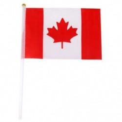 Kézzel hullámzó kanadai nemzeti zászlók műanyag oszlopok 21 x 14 cm-es csomag 12 S3O9