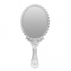 Hölgyek vintage repó virágos kézzel tartott ovális tükör smink fodrász Y7Q9