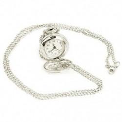 1X (ezüstözött medálóra láncos óra kvarcóra nyaklánc zsebként Q5F8