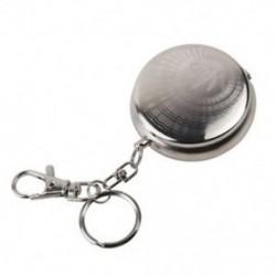 Hordozható rozsdamentes acél kör alakú hamutartó W / kulcstartó ezüst Véletlenszerű mintázat D2X1