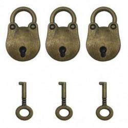 1X (3 db vintage antik stílusú mini medvefej archaizált lakatok kulcstartóval X1D1