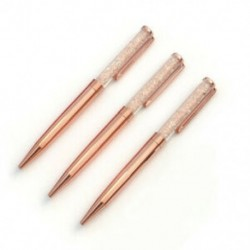 Rózsa arany toll Bling kristálygömbös toll fekete tintával, 3 extra visszajelzővel V4V2