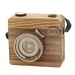 1X (kreatív retro fényképezőgép stílusú fa zenedobozos ajándék karácsonyra boldog R9Z9)