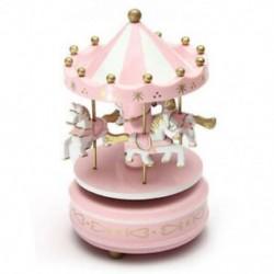 rózsaszín - 1X (zenei körhinta ló fa körhinta zenei doboz játék gyerek baba játék M7Z3)