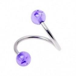 1X (14 g-os rozsdamentes acél csavart köldökgyűrű golyóval - lila H4X4)