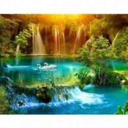 vízesés, 5D, Gyémántfestmény-tó, hattyú, Öltéskereszt, 3D-s képek, Teljes, Diamo H7I5