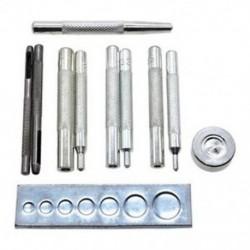 11x kézműves szerszám, lyukasztó szegecs szetter alapkészlet a DIY bőr kézműveshez, T N7R4