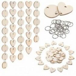 Összesen 200 darab, fa körökből készült fa szívcímkék lyukakkal és 12 mm-es E6Q5