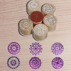 6 válogatott fa gumibélyegző kerek kézírásos virág virág kézműves P5U5