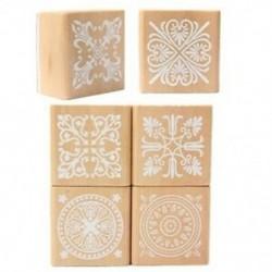 6 válogatott fa bélyegző gumi tömítés négyzet alakú kézírás DIY kézműves virág Lac D8U5