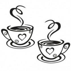 2X (Fekete kávéscsészék falimatrica matrica PVC kávimatrica matrica dekoráció I6P3