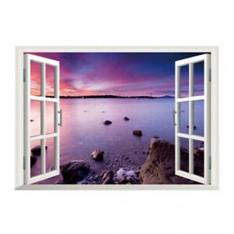 3D-s ablak Kilátás a tengerre ZN-W011 Art Beautiful falfestmény falimatrica Pur E2N6
