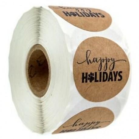 1 hüvelykes boldog ünnepek matrica mancsnyomással / 500 Kutya mancs nyomtatás karácsony M9Y6