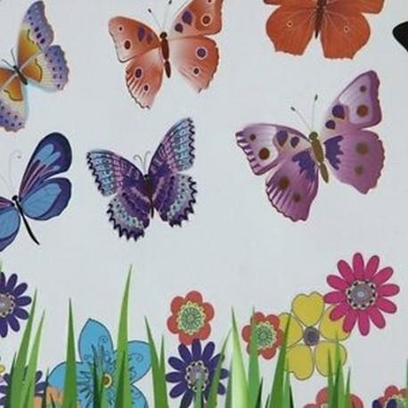 Fű virág pillangó mintázat eltávolítható falimatrica Del Art DIY lakberendezés B.