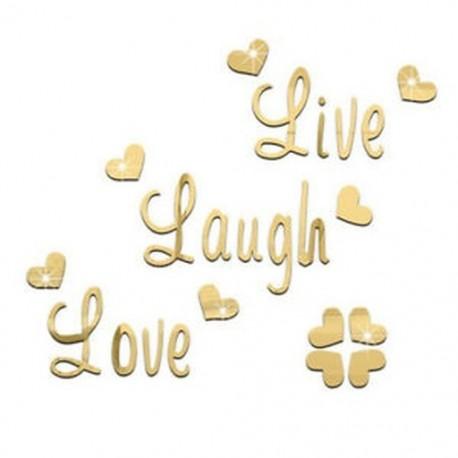 LIVE LOVE LAUGH Szív mintás tükör fali matricák matrica lakberendezési X9H2