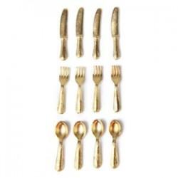 1/12 Doll House miniatűr rozsdamentes acélból készült edénykészlet, 12 cikk arany I7K8