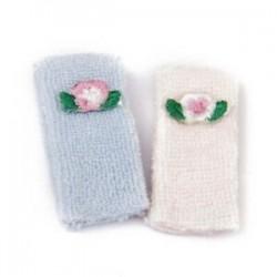 1/12 Fürdőlepedő Babaház Miniatűr törülközők, 2 darab rózsaszín és kék M8W7